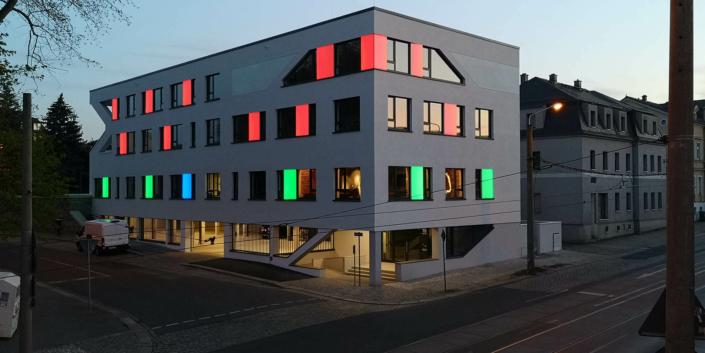 Partielle LED Fassadenbeleuchtung