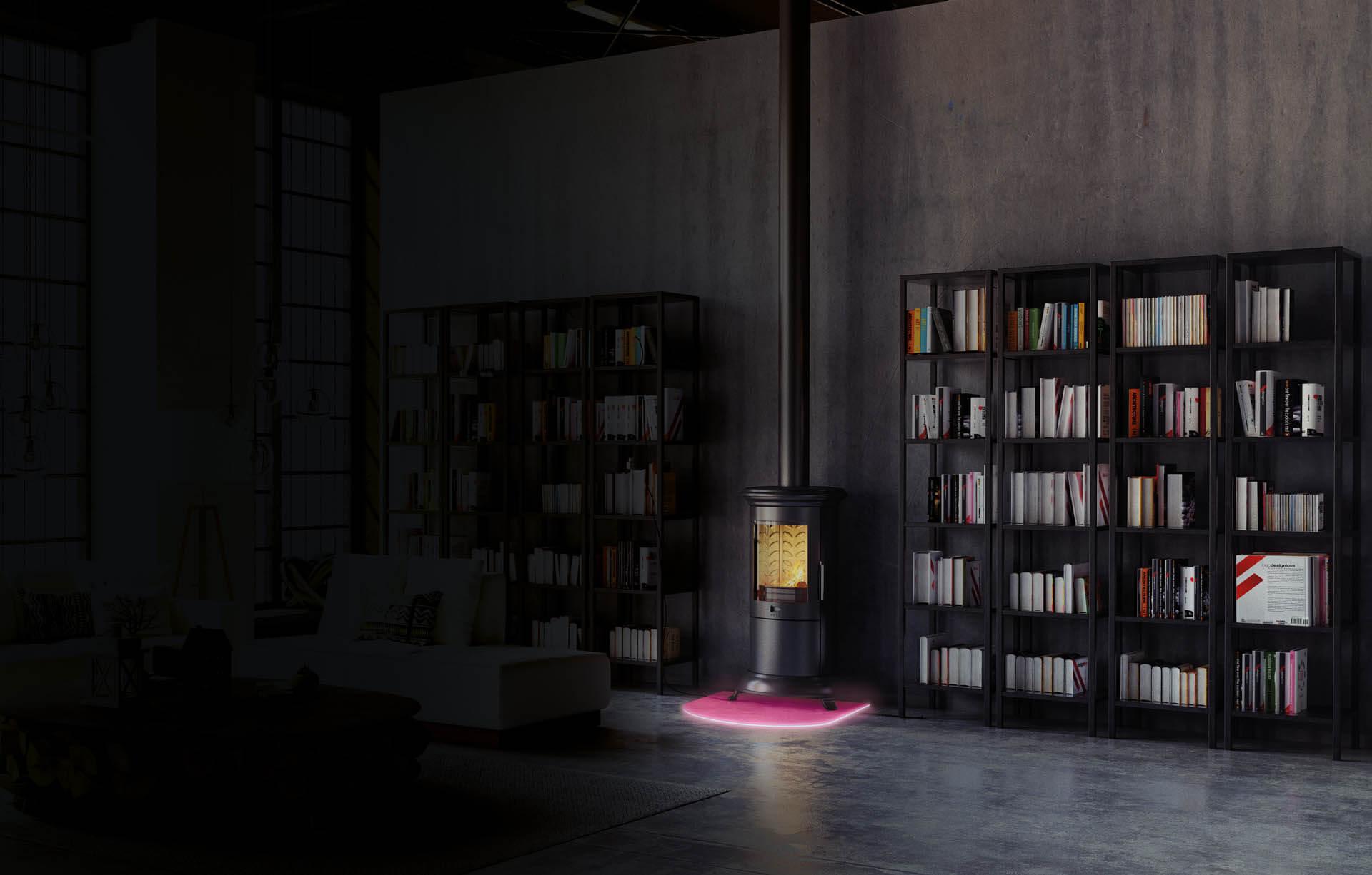 Pink beleuchtete Funkenschutzplatte aus Glas