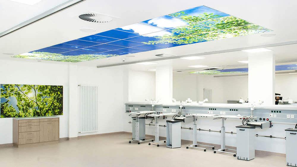 Lichtdecke mit Motiv für Arbeitsbereiche